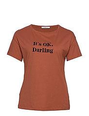 Embroidered message t-shirt - MEDIUM ORANGE