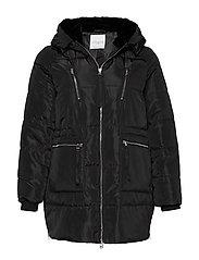 Faux fur hood coat - BLACK