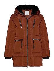Faux fur hood coat - RUST - COPPER