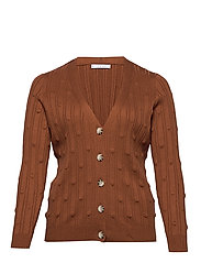 Embossed polka-dot cardigan - MEDIUM BROWN