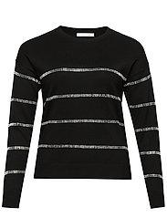 Metallic appliqus sweater - BLACK