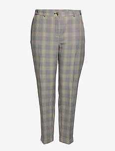 Slim-fit check-print trousers - LIGHT BEIGE