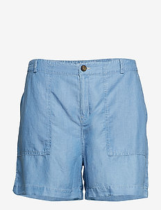 Denim soft fabric shorts - OPEN BLUE