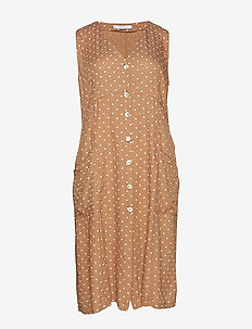 Polka dot midi dress - LIGHT BEIGE