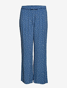 Polka-dot straight trousers - MEDIUM BLUE
