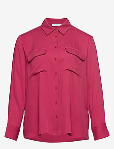 Flap pocketed shirt - DARK RED