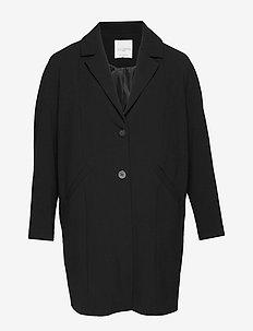Camp-collar coat - BLACK