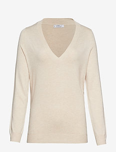 V-neck sweater - LT PASTEL BROWN