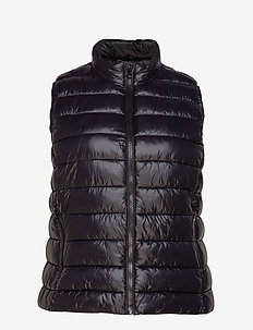 Quilted zipper gilet - BLACK
