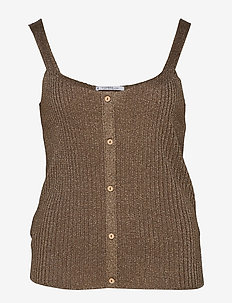 Metallic thread top - MEDIUM BROWN