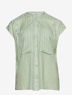 Check-pattern blouse - GREEN