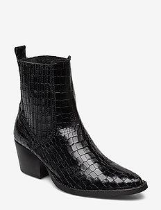 Croc-effect leather boots - BLACK