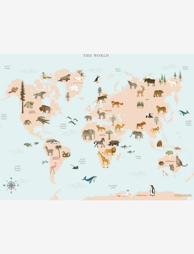 WORLD MAP ANIMAL - plakater - multi