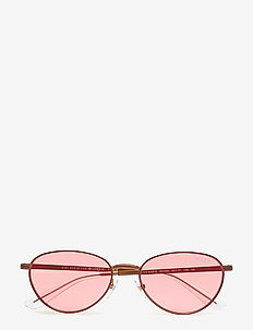 WOMEN'S SUNGLASSES - round frame - copper light brown/pink