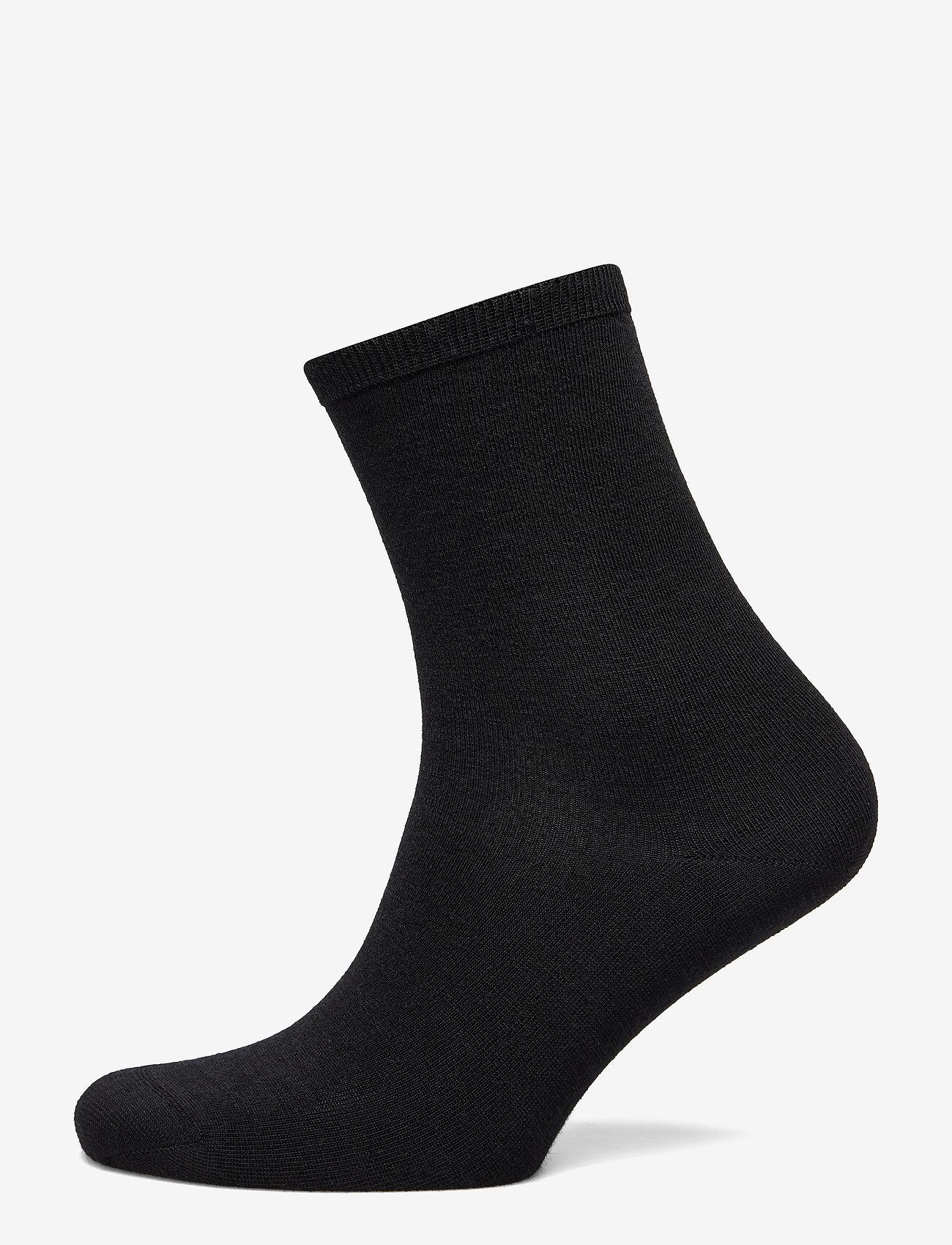Vogue - Ladies anklesock, Plain Merino Wool Socks - strumpor - black - 1