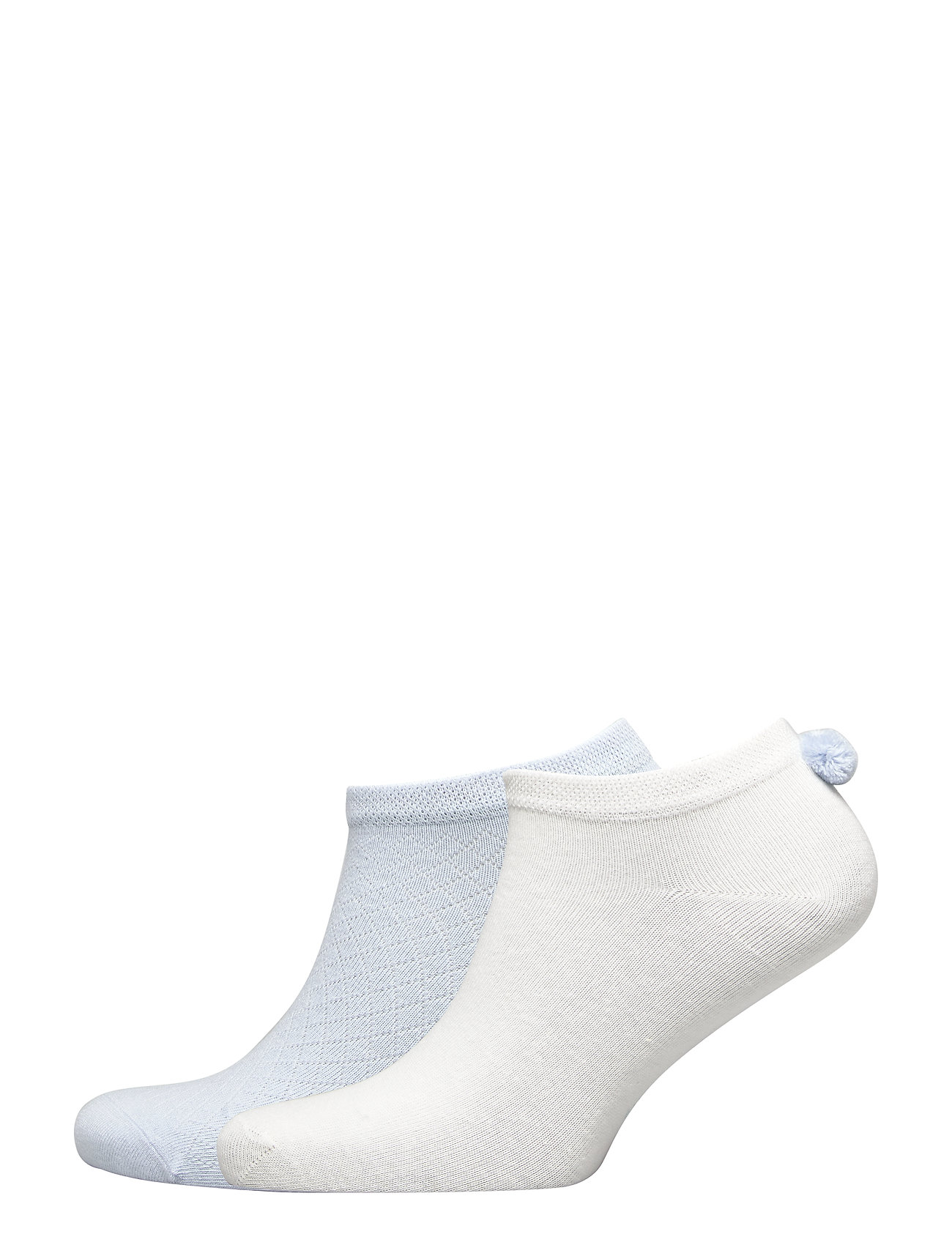 Vogue Ladies anklesock, PomPom Sneakers, 2-pack - BLUE BELL