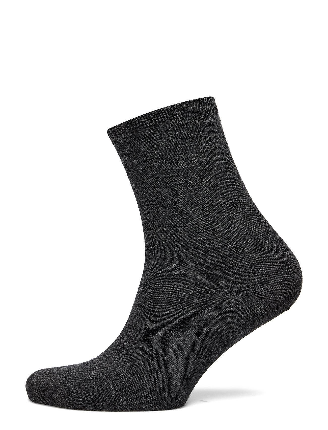 Vogue Ladies anklesock, Plain Merino Wool Socks - ASPHALT