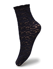 Ladies den anklesock, Lace Sock 25 - black iris