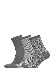 Ladies anklesock, Confetti Socks, 3-pack - CHARCOAL