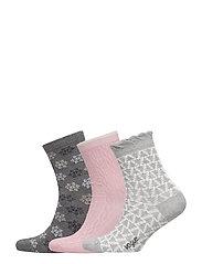 Ladies anklesock, Winter Socks, 3-pack - MULTICOLOR