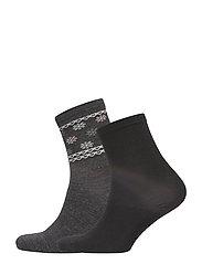 Ladies anklesock, Wool Snowstar Socks, 2-pack - D.MEL.GREY