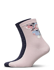 Ladies anklesock, Celestine Socks, 2-pack - CAMEO ROSE