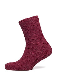Ladies anklesock, Chenille Sock - HEATHER RED