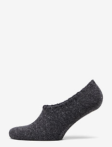 Ladies anklesock, Wool Blend Steps - DARK MELANGE GREY