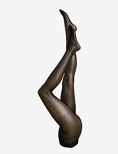 Ladies den pantyhose, Swiss Dot Control Top 15 den - black