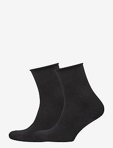 Ladies anklesock, Cotton Comfort Socks, 2 pack - skarpetki - black