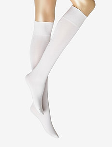 Ladies knee high, Silky Cotton Knee - knæstrømper - white