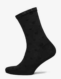 Ladies anklesock, Heart Sock - BLACK