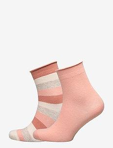 Ladies anklesock, Lollipop Socks, 2-pack - PALE PEACH