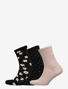 Ladies anklesock, Jasmine Socks, 3-pack - BLACK