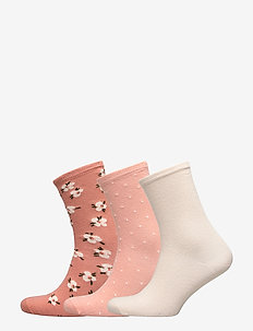 Ladies anklesock, Jasmine Socks, 3-pack - CINNAMON