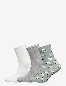 Ladies anklesock, Jasmine Socks, 3-pack - FROSTY GREEN