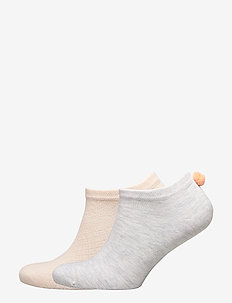 Ladies anklesock, PomPom Sneakers, 2-pack - PALE PEACH