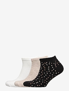 Ladies anklesock, Spotty Sneakers, 3-pack - BLACK