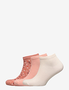 Ladies anklesock, Spotty Sneakers, 3-pack - CINNAMON