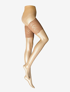 Ladies pantyhose den, Lace Thigh Band - strømpebukser - suntan