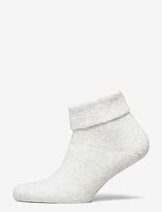 Ladies anklesock, Olivia Wool Sock - steps & footies - silver mel. grey