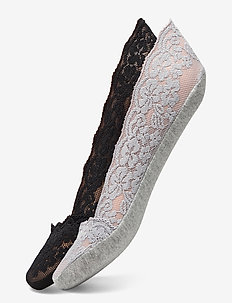 Ladies steps, Lace Steps, 2-pack - footies - black