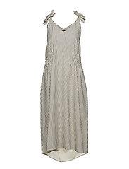 Mattea Dress - PINSTRIPE OFF WHITE