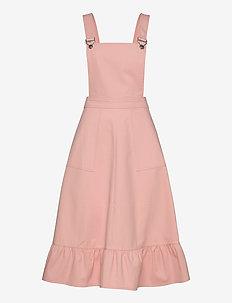Ellie Dungaree Dress - FLAMINGO