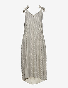 Mattea Dress - PINSTRIPE OFF WHITE