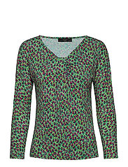 CESY - EMERALD PAINTED FLOWER DESIG KNITTED BLOUSE
