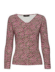 CESY - PINK PAINTED FLOWER DESIG KNITTED BLOUSE