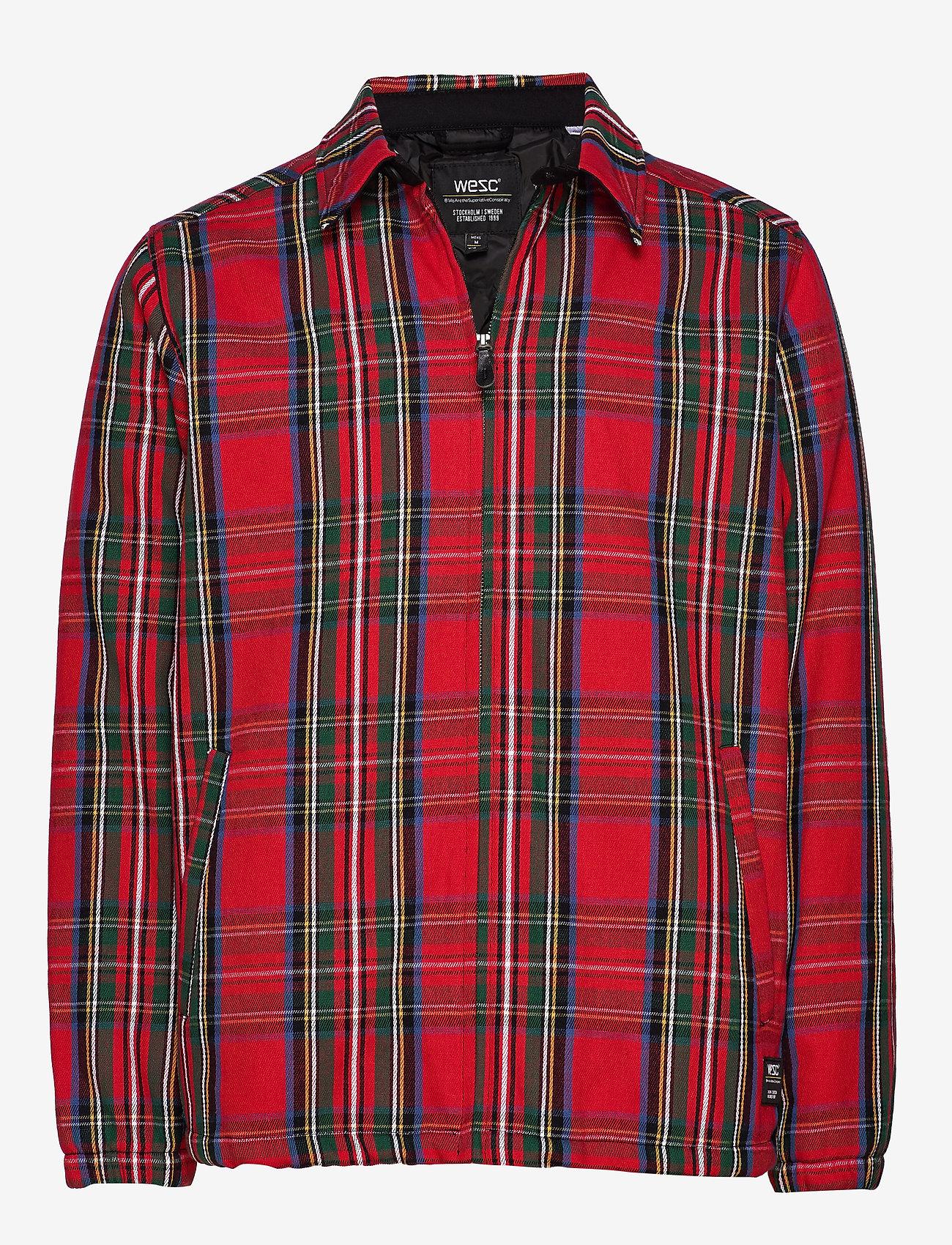 WeSC - Coach Tartan Zip Jacket - leichte jacken - salsa red - 0