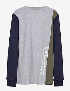 BLOCK LONG TEE Big Boy - HEATHER GREY