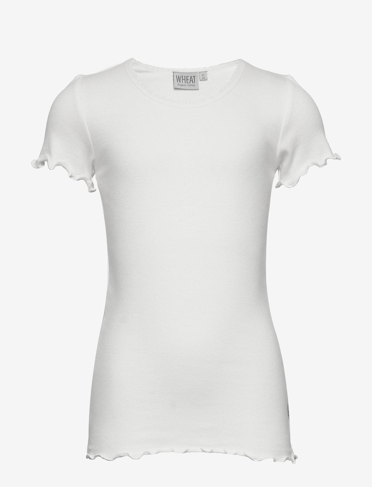 Wheat - Rib T-Shirt Lace SS - krótki rękaw - ivory